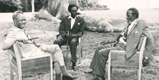 동아프리카 삼인중. 왼쪽부터 니에레레, 오보테, 케냐타