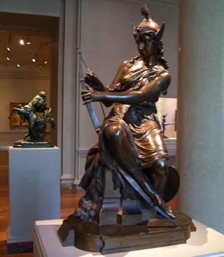 아마조네스(단수형: 아마존)는 그리스 신화에 나오는 전설의 여성 부족이다. 사진은 전투를 준비 중인 아마존 전사. Pierre-Eugène-Emile Hébert 작품(1860)