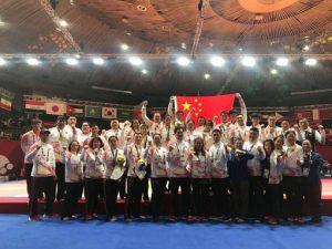 2018년 자카르타-팔렘방 아시안 게임에서 중국 국가대표의 남녀 혼성단체전 첫 동메달 획득 당시