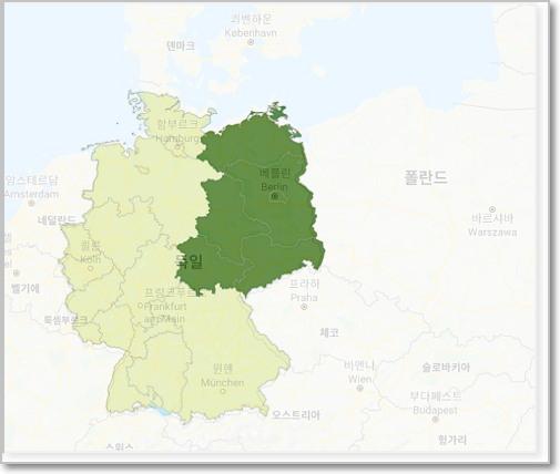 지도에서 진한 녹색이 과거의 '구동독' 지역