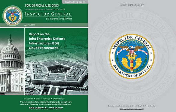 미 국방부가 발표한 제다이 감사보고서 https://media.defense.gov/2020/Apr/21/2002285087/-1/-1/1/REPORT%20ON%20THE%20JOINT%20ENTERPRISE%20DEFENSE%20INFRASTRUCTURE%20(JEDI)%20CLOUD%20PROCUREMENT%20DODIG-2020-079.PDF