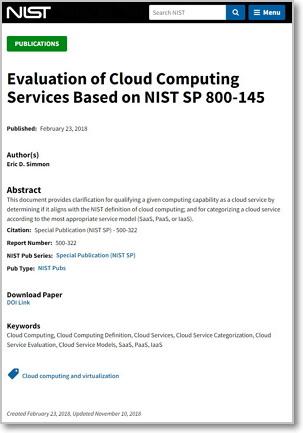 팩터 1.1과 팩터 1.6 요구사항의 타당성을 평가할 때 참고한 NIST의 문건 (출처: NIST) https://www.nist.gov/publications/evaluation-cloud-computing-services-based-nist-sp-800-145