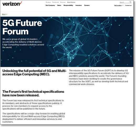 5G 미래포럼은 버라이즌이 이끌고 있다. (출처: 버라이즌) https://www.verizon.com/about/5g-future-forum