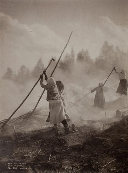외국(핀란드)에서 화전밭을 정리하는 모습 (출처: 퍼블릭 도메인)