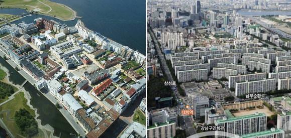 말뫼의 Bo01 지구 일부 모습(왼쪽) http://www.csbr.umn.edu/work/bo01.html ㅣ 강남과 잠실의 아파트 단지 모습 (오른쪽, 네이버 항공뷰)